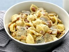 Boscaiola sauce is a creamy mushroom and bacon sauce that is perfect for a pasta dish designed to tempt even the fussiest of palates. It's great served on orecchiette as the sauce clings to the big pasta ears, making every mouthful delicious.