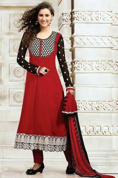 USD 53.07 Red Faux Georgette Resham Work Party Wear Salwar Suit 29925
