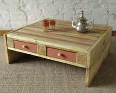 Recycled pallet coffee table. Looks so easy to make.