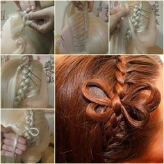 DIY Cute Braided Butterfly Hairstyle -- not sure I understand how to make all four wings. Might just leave it at two for a bow. Little Girl Hairstyles, Up Hairstyles, Butterfly Hairstyle, Invisible Braids, Competition Hair, Fishtail Braid Hairstyles, Braids For Long Hair, Tips Belleza, Hair Art