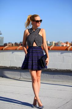 On a heavily patterned and textured dress, cutouts keep the look from feeling weighed down.Photo Credit: Brooklyn Blonde                            On a heavily patterned and textured dress, cutouts keep the look from feeling weighed down.Photo Credit: Brooklyn Blonde - via StyleList