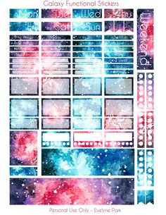 My functional galaxy planner stickers - a printable set made from my hand-painted watercolor galaxies! Two pages, lots of extras, habit tracker stickers, to-do lists, days of the week, weekend flag - and of course full size and half size boxes for the Erin Condren Life Planner! I especially like how the watercolor washi tape turned out~ Digital Download, PDF & PNG