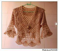 Bolero con mangas tres cuartos y solapa al crochet - con esquemas   Crochet y Dos agujas