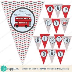 Wheels on the Bus Birthday Bunting - printable happy birthday party banner, red London bus - Digital Happy Birthday Meme, Happy Birthday Parties, Happy Birthday Messages, 3rd Birthday, Birthday Party Themes, School Birthday, Birthday Bunting, Happy Birthday Banners, Wheels On The Bus