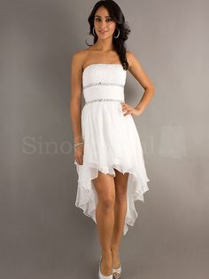 Elegant A-line Strapless Neckline Aymmetrical Graduation Dress