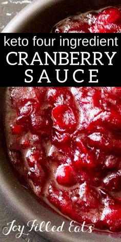 Keto-Friendly Sugar Free Cranberry Sauce with only four ingredients. Five min of prep & the smell of cranberries cinnamon & vanilla will fill your house. Low Carb THM FP Keto-Friendly Sugar Free Cranberry Sauce with only fou Sugar Free Recipes, Low Carb Recipes, Cooking Recipes, Cranberry Recipes Low Carb, Kitchen Recipes, Cooking Ideas, Healthy Recipes, Alton Brown, Sugar Free Cranberry Sauce