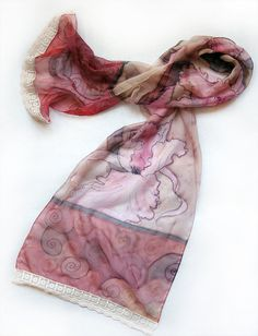 Hand painted silk chiffon scarf The Pink Irises with by klaradar