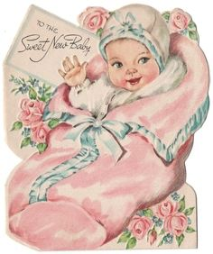I love the soft colors of vintage baby cards! Retro Baby, Vintage Baby Mädchen, Vintage Baby Pictures, Images Vintage, Photo Vintage, Baby Images, Vintage Girls, Vintage Children, Vintage Clip Art