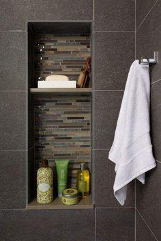 Tiled Shower Shelves- Towel Rack- Dark Tiled Shower- Hopefully for an upstairs bathroom remodel Tile Shower Shelf, Shower Niche, Master Shower, Master Bathroom, Vanity Bathroom, Bathroom Wall, Bathroom Interior, Laundry In Bathroom, Bathroom Renos