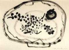 Zao Wou-Ki (Zhao Wuji), 1920-2013, Fruit Plate, signed in Chinese and Pinyin and dated 51, ink on paper , 22 by 34 cm; 8 3/4 by 13 1/3 in