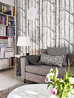 Cole and Son Birch Tree Wallpaper Tree Wallpaper Living Room, Birch Tree Wallpaper, Wood Wallpaper, Forest Wallpaper, Bedroom Wallpaper, Feature Wallpaper, Wallpaper Roll, Amazon Wallpaper, Wallpaper Lounge