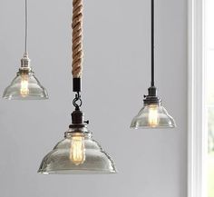"Pendant Hardwire Rope Kit, 4'.5"" + Vintage Glass Large Hood, Clear Glass At Pottery Barn - Lighting - Pendants"