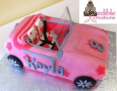 Edible Creations' Pink Barbie Car Cake  Check us out on Face Book @ Edible Creations or email us @ Ediblecreations@hotmail.ca