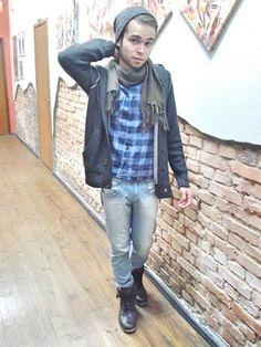 Lookbyjorjao: Look do dia com touca mescla + cachecol marrom + camisa flanela…