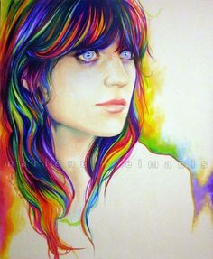 zooey portrait in crayon Ap Art, Marker Art, Copics, Art Education, Art Lessons, Painting & Drawing, Amazing Art, Art Drawings, Art Sketches