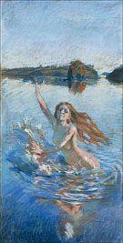 Akseli Gallen-Kallela aprilie 1865 - 7 martie - Study for Aino triptych, pastel, Albert Bierstadt, August Sander, Alphonse Mucha, Scandinavian Paintings, Austin Osman Spare, Chur, Art Database, Art Studies, Triptych