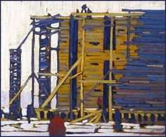 """""""Building the Ice House, Hamilton,"""" Lawren Stewart Harris, oil on panel, 10 5/8 x 12 3/4"""", private collection."""