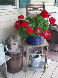 vintage wash tub/wringer stand w/geraniums: need to remember to set little containers of red geraniums all around this summer.little drink card needs a plant! Rustic Gardens, Outdoor Gardens, Garden Art, Home And Garden, Garden Junk, Gazebos, Red Geraniums, Geraniums Garden, Summer Porch