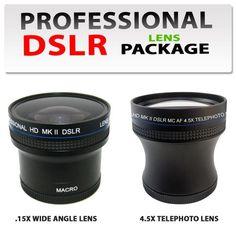 0.15X Super Fisheye Lens + 4.5x Digital Telephoto Professional Series Lens Kit For The Canon 18-55mm IS Lens, Canon 55-250mm IS Lens, Canon 50mm Lens $89.99