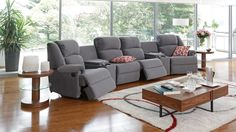 Ben 6 Piece Fabric Powered Home Theatre Lounge