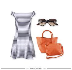 Vestido Listrado + Óculos de Sol + Bolsa Coral | Stripes | Sunglasses | Bag #moda #look #outfit #looknowlook