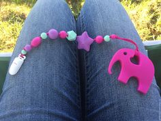 Silicone elephant violet red teether with pacifier от TeetherLand