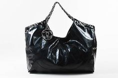 "Chanel Black Patent Vinyl 'CC' ""Coco Cabas Jumbo XL"" Chain Strap Shoulder Bag"