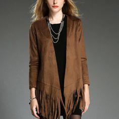 Mujeres Early Autumn chal chaqueta de 2015 nueva gamuza con flecos Chaquetas Mujer de manga larga moda delgado de la rebeca Chaquetas abrigos Outwear