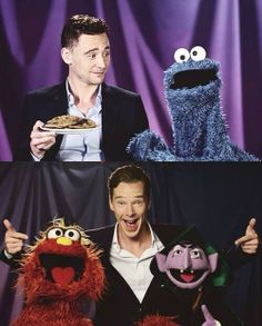 Adorable British men with Sesame Street characters