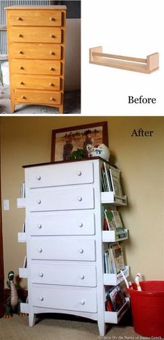 DIY Kids Bookshelves Made with Old Drawers and Ikea Spice Racks