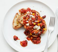 Upgrade beans on toast and turn it into something special with a sprinkling of feta, a thick slice of sourdough and a tin of chopped tomatoes