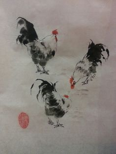 3 Roosters.  My second Chinese painting