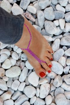 Rhinestones Pink Barefoot Sandals Foot Jewelry Sexy by Kreacje