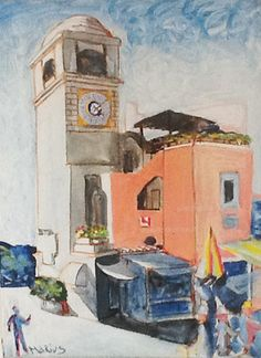 Capri Square handmade acrylic on canvas painted di homedecorationitaly su Etsy