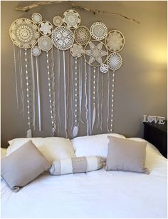 Old things in a new way modern decor with lace Crochet is a creative, and even slightly meditative process However, it is difficult to imagine how such things can be applied in a modern interior … - diy-home-decor Doilies Crafts, Crochet Doilies, Doily Art, Modern Decor, Modern Interior, Wall Murals, Wall Art, Diy Home Decor, Shabby Chic