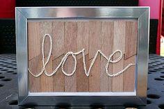 Wood shim crochet Valentine art