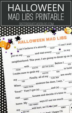 Halloween Mad Libs printable game for kids! Perfect for Halloween class parties or classroom activity. Classroom Halloween Party, Halloween Activities For Kids, Halloween Party Supplies, Halloween Party Games, Cute Halloween Costumes, Classroom Activities, Halloween Kids, Halloween Celebration, Halloween Crafts