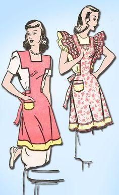 1940s Vintage Advance Sewing Pattern 4335 Uncut Misses Apron Set Size 30 32 B