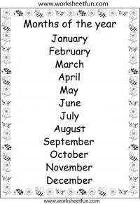 Months of the Year – Printable Chart and Other Printables