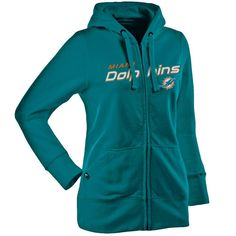 Antigua Miami Dolphins Women s Signature Full Zip Hoodie - Aqua - Miami  Dolphins Sweatshirt be24a94d3