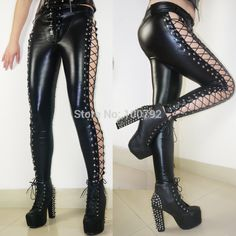 427ae8a15b42a US $38.0 |Aliexpress.com : Buy New Fashion Hot Women Laced Up Punk Rock  Leggings Heavy Metal Two Side Studded Faux Leather Pants 212 from Reliable  rock ...