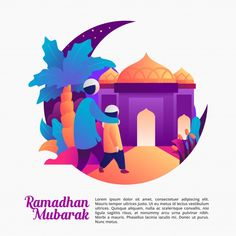Discover the best Vectors, Photos & PSD files from Risangunyu - Free Graphic Resources for personal and commercial use App Background, Instagram Background, Illustration Story, Flat Design Illustration, Poster Ramadhan, Eid Mubarak Wallpaper, Ramadan Cards, Islamic Cartoon, Cartoon Design