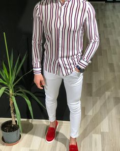 Anmos Men's White Slim Fit Striped Shirt is made with Viscose. White Slim Fit Lycra Jeans is made of top quality denim. Red Kilt Espadrille Loafer are ready to wear shoes are comfortable and make your look more stylish. Formal Shirts For Men, Casual Shirts, Indian Men Fashion, Mens Fashion, Fashion Suits, Designer Suits For Men, Basic Tees, Casual Look, Men Casual