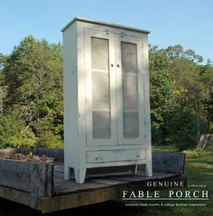 Country & Cottage Farmhouse Furniture - Our Louisiana Pie Safe measures 34 x 15 x 60 and is finished in Picket Fence-Outer Banks Coastal wit...