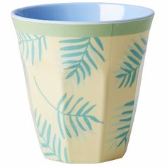 Rice Palm Leaves Melamine Cup: Medium melamine cup with two tone blue and yellow palm leaves print.