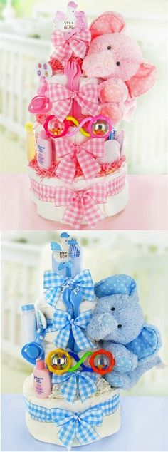 Gingham and Giggles Elephant Diaper Cake
