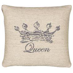 John Lewis Queen Cushion, Natural / Blue