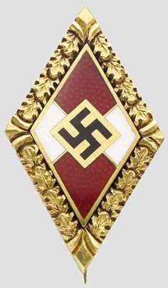 Trude Burkner-Mohr receive the Hitlerjugend-Abzeichen in gold mit Eichenlaud in real gold 585. this badge sold by Hermann Historica Auction in Munchen Germany for the sum : 12,000 euro / $ 16,708us / 11,144 GBP / $20,371 CAD Amazing price !!