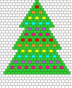 Rainbow Christmas Tree Peyote bead pattern