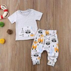 e06f9df4 2018 Infant Kids Baby Boy Outfit Sets Shirt T-shirt Tops+Long Pants Cl